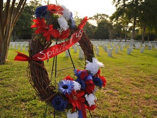 "A ""Spirit of '45"" wreath stands in the Alexandraia National Cemetary on Sunday to commemorate the end of World War II 70 years ago."