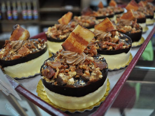 Bacon Snickers cheesecakes, available during BaconFest at Atwood's Bakery.