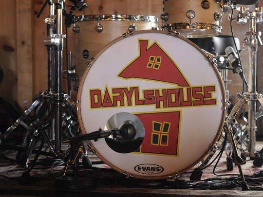 A drum set on the stage of Daryl's House in Pawling.