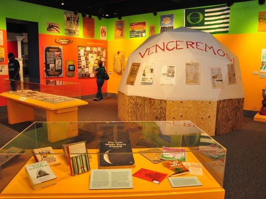 """The exhibit """"Hippies, Freaks and Radicals: 1970s Counterculture in Vermont"""" at the Vermont History Center in Barre."""