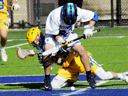 Summit's Henry Schertzinger (22) and Mariemont's Ben Phelan (23) square off at midfield for a face off last May.