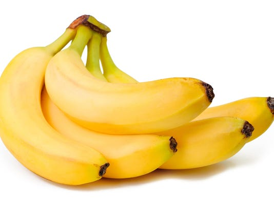 Close-up bunch of bananas isolated on white background