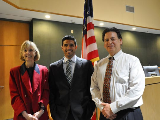 Montville Superintendent Rene' Rovtar and Board Of Education President Matthew Kayne welcome Michael Pasciuto (center) to the Montville Township Public Schools district. Pasciuto was hired on Tuesday and will take over at the end of the year.