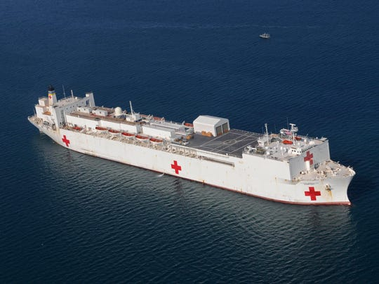 The Military Sealift Command hospital ship USNS Comfort is anchored off the coast of Haiti to support Operation Unified Response in 2010.