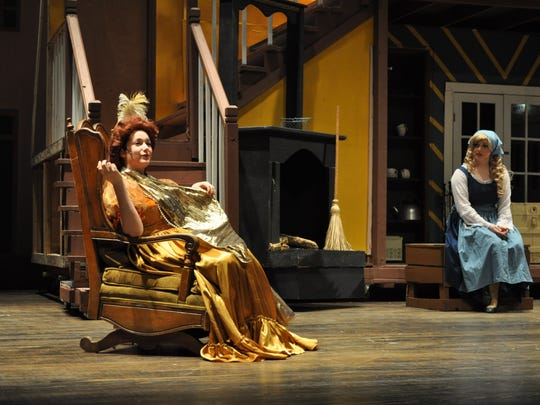 Abigail Thomas (left), as the stepmother, and Shira Kaplan, who plays Cinderella, rehearse a scene during a practice for Pineville High School Theatre's production of Rodgers and Hammerstein's Cinderella. The show opens Thursday and runs through Sunday.