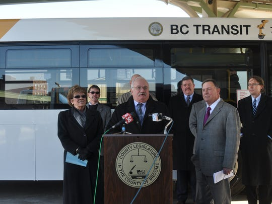 Broome County Legislature Chairman Jerry Marinich was joined by a handful of other local and state officials Thursday morning at the Greater Binghamton Intermodal Transportation Center on Chenango Street in Binghamton, where seven new BC Transit buses made their official debut.