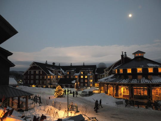 Lincoln Peak Village at dusk.