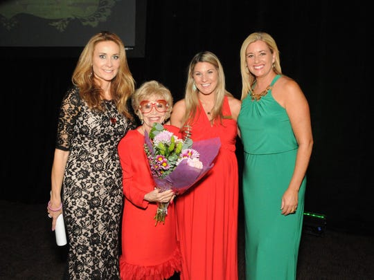 Melissa Neiderman, left, Desert Gala Spirit advisory chair and recipient of the Jackie Lee Houston Spirit Award, poses with journalist Gloria Greer, who received the Inspiration Award for her battle with esophageal cancer, Julie Mignogna, ACS distinguished events specialist and KESQ-TV3 anchor and gala emcee Karen Devine.