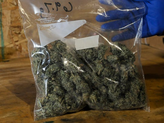 This bag contain 2.5 ounces of marijuana seized by the St. Clair County Drug Task Force. It is the legal limit for the medical marijuana card holders to possess at any given time. The St. Clair County Sheriff's Department is attempting to get a grant that would help fund the enforcement and education of the medical marijuana laws.