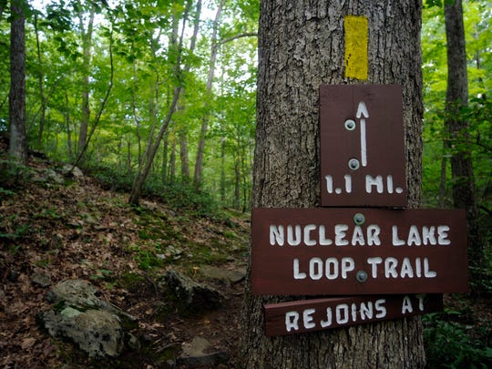 A marker on the Appalachian Trail points to Nuclear Lake. A facility licensed to experiment with uranium and plutonium operated there until 1972.
