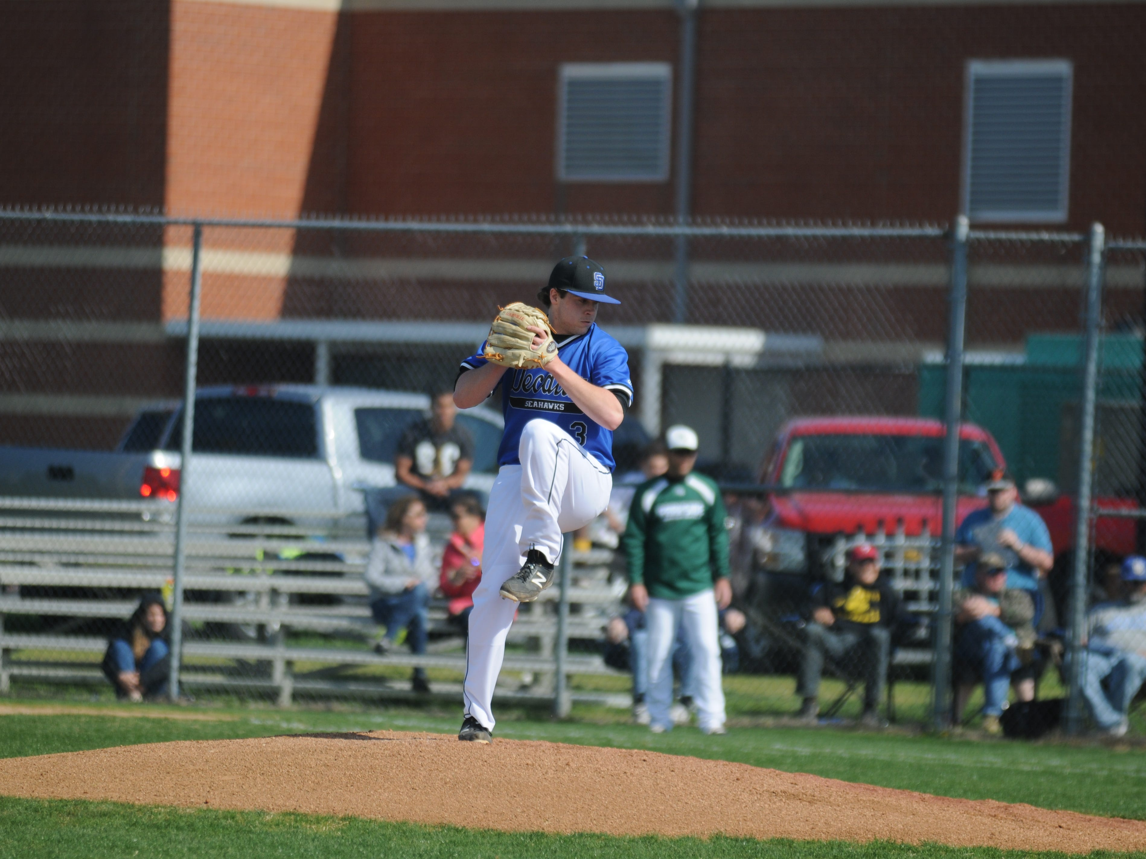 Stephen Decatur senior pitcher Grant Donahue delivers a pitch against Parkside on Wednesday in Berlin.