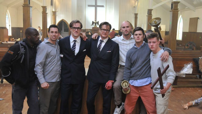 KINGSMAN: THE SECRET SERVICE   The core stunt team of Kingsman: The Secret Service  L-R Marvin Campbell, Ruda Vrba, Myself, Colin, Damien Walters, James Harris and Greg Townley.   HANDOUT CREDIT: Andy Owen [Via MerlinFTP Drop]