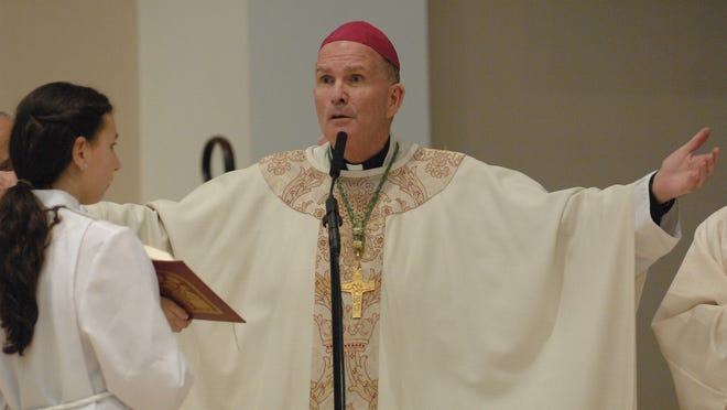 Bishop David M. O'Connell, Bishop of the Diocese of Trenton, celebrates Mass.
