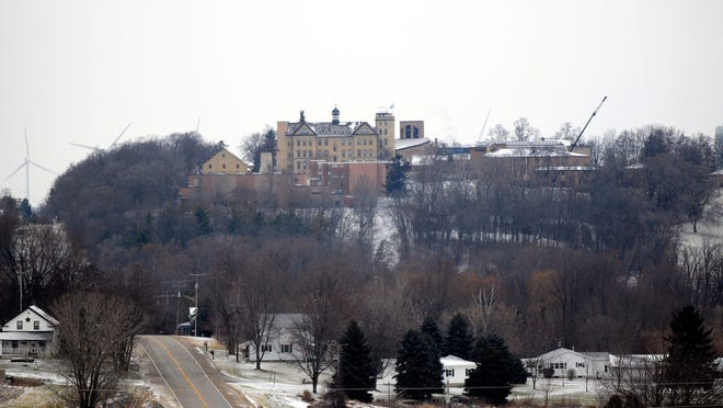 St. Lawrence Seminary can be seen on a hilltop in Mount Calvary. The site lost a historic building during a fire in March.