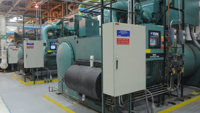 IBM's new chillers, pictured here, incorporates more sophisticated and energy-efficient technology.