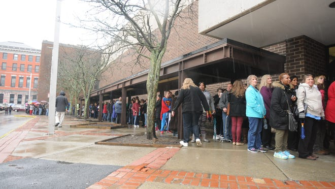 "Even in the rain, the line for contestant registration on ""The Price Is Right Live,"" held at the Mid-Hudson Civic Center in the City of Poughkeepsie, stretched from the ticket office down to Main Street."