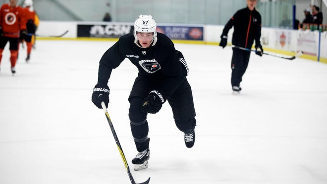 Travis Sanheim was back in the lineup Saturday after being a minus-2 in his NHL debut.