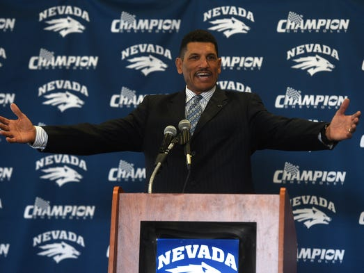 New Wolf Pack head football coach Jay Norvell gets