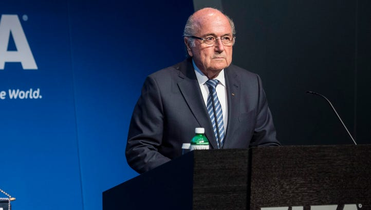 Sepp Blatter speaks during a press conference at the
