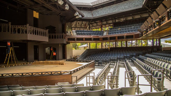 A crew works to put the finishing touches on the Utah Shakespeare Festival's Engelstad Shakespeare Theatre at Southern Utah University's Beverley Center for the Arts in Cedar City.