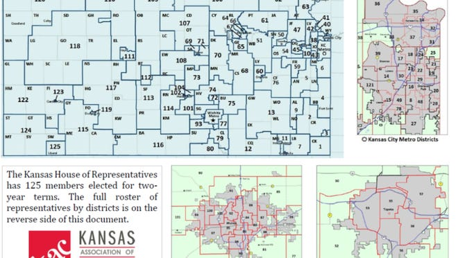 The current map of districts for the Kansas House as shown by the Kansas Association of Counties.