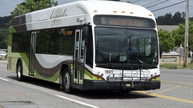An Augusta Transit bus makes its way down Broad Street on  April 8, 2020. The agency is offering free bus rides for the remainder of January.