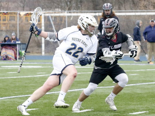 Jack Chapman of Notre Dame is defended by Elmira's