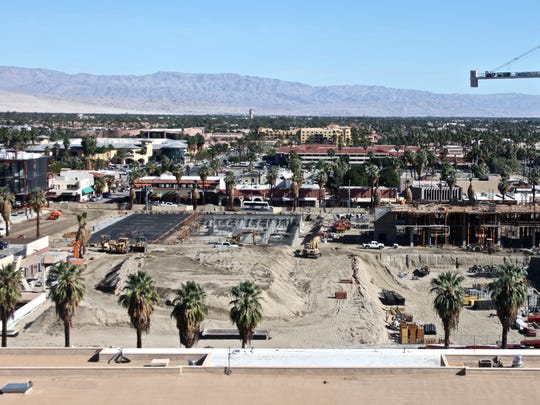 The redevelopment of downtown Palm Springs is underway with a new Kimpton hotel, hundreds of underground parking spaces and other buildings. Taken November 2015.