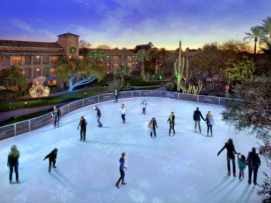 "The Desert Ice Skating Rink returns to the Fairmont Scottsdale Princess as part of the hotel's Christmas at the Princess"" season celebration."