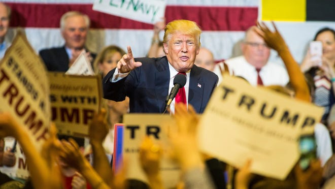 Trump speaks to a packed gym during a rally held at Stephen Decatur High School on April 20 in Berlin.