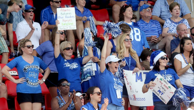 MTSU fans cheer during Thursday's game.