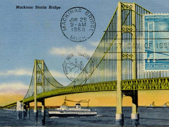 Post Card of the newly-constructed Mackinac Bridge.
