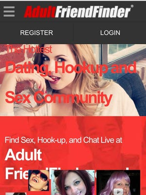 A screenshot of the AdultFriendFinder mobile app on a smartphone
