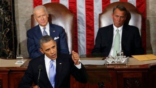 In this Jan. 28, 2014 file photo, Vice President Joe Biden and House Speaker John Boehner of Ohio listen as President Barack Obama gives his State of the Union address on Capitol Hill in Washington. Away for more than half a month, President Barack Obama returns to the White House this weekend aiming to set the agenda for the new year solely on his terms. He'll face newly emboldened Republicans who feel their victory in last year's midterm elections give them a mandate to rein the president in.