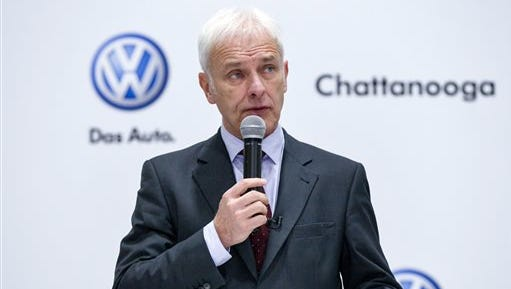 Volkswagen CEO Matthias Mueller speaks to workers at the German automaker's lone U.S. plant in Chattanooga on Thursday. Mueller said he had agreed with federal environmental regulators not to publicly  discuss Volkswagen's next steps in addressing its emissions cheating scandal. Volkswagen was forced to admit last year that about 600,000 vehicles nationwide were sold with illegal software designed to trick government emissions tests.