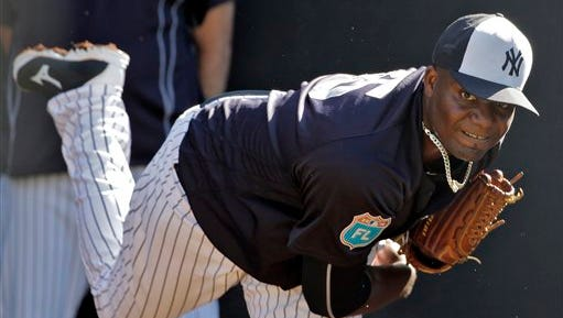 New York Yankees pitcher Michael Pineda during a spring training baseball workout Monday, Feb. 22, 2016, in Tampa, Fla. (AP Photo/Chris O'Meara)
