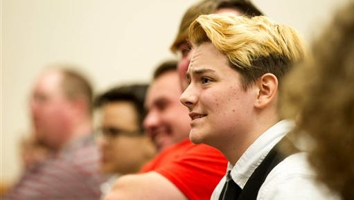 Henry Seaton, a transgender high school senior, listens during a House subcommittee hearing about a bill seeking to require school children to use restrooms according to the gender on their birth certificates, in this March 15 file photo in Nashville. Seaton told the panel that he has had to use a teacher's bathroom at his school because he was not allowed to use either the boys or girls facilities.