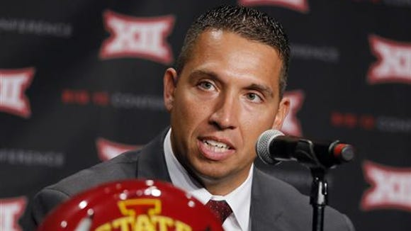 Iowa State head football coach Matt Campbell responds to questions during Big 12 media days on Monday in Dallas.