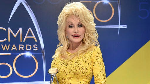 FILE - In this Nov. 2, 2016 file photo, Dolly Parton poses in the press room with the Willie Nelson Lifetime Achievement Award during the 50th annual CMA Awards in Nashville, Tenn. Parton says she's heartbroken about wildfires that tore through the Tennessee county where she grew up, but spared the Dollywood theme park that bears her name. At least 14,000 people have been forced to evacuate the tourist area of Gatlinburg, Tennessee, and a dozen people have been injured in the wildfires.