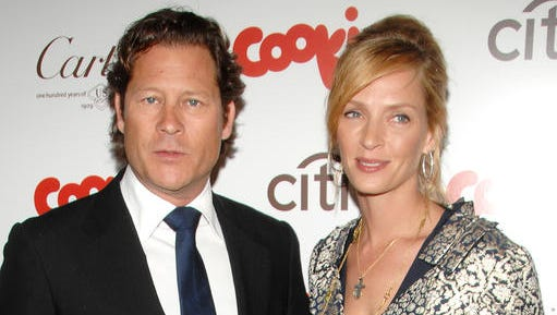 FILE - This April 20, 2009 file photo shows actress Uma Thurman, right, and financier Arpad Busson attending the Cookie magazine Smart Cookie awards in New York. Thurman and ex-boyfriend Busson are facing off in a New York City court over their 4-year-old daughter. The Oscar-nominated actress and the financier were in court Friday, Jan. 13, 2017,  for the start of their custody trial. It concerns visits and other issues.