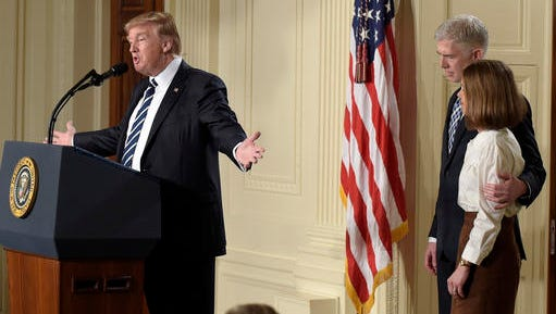 President Donald Trump announces 10th U.S. Circuit Court of Appeals Judge Neil Gorsuch as his choice for Supreme Court Justice during a televised address from the East Room of the White House in Washington, Tuesday, Jan. 31, 2017.