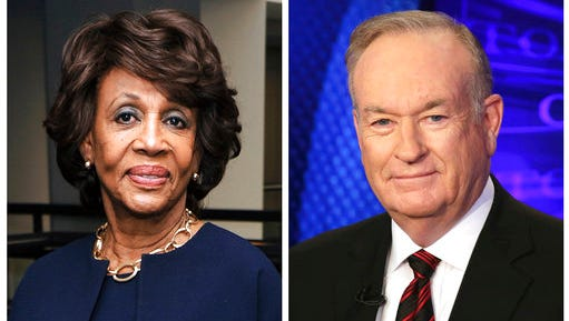 """In this combination photo, Rep. Maxine Waters, D-Calif., left, appears at the Justice on Trial Film Festival on Oct. 20, 2013, in Los Angeles and Fox News personality Bill O'Reilly appears on the set of his show, """"The O'Reilly Factor,"""" on Oct. 1, 2015 in New York. O'Reilly said Tuesday, March 28, 2017, he had a hard time concentrating on Waters during a speech because he was distracted by her """"James Brown wig."""" He made the comment during an appearance on """"Fox & Friends,"""" after a clip was shown of Waters speaking in the House of Representatives."""