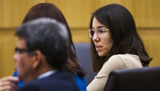 Jodi Arias sits in the Maricopa County Superior Court room of Judge Sherry Stephens in Phoenix, Tuesday as the opening statements in her penalty phase retrial begins. The 34-year-old Arias was convicted of murder last year, but the first jury was deadlocked on whether to give her the death penalty or life in prison.