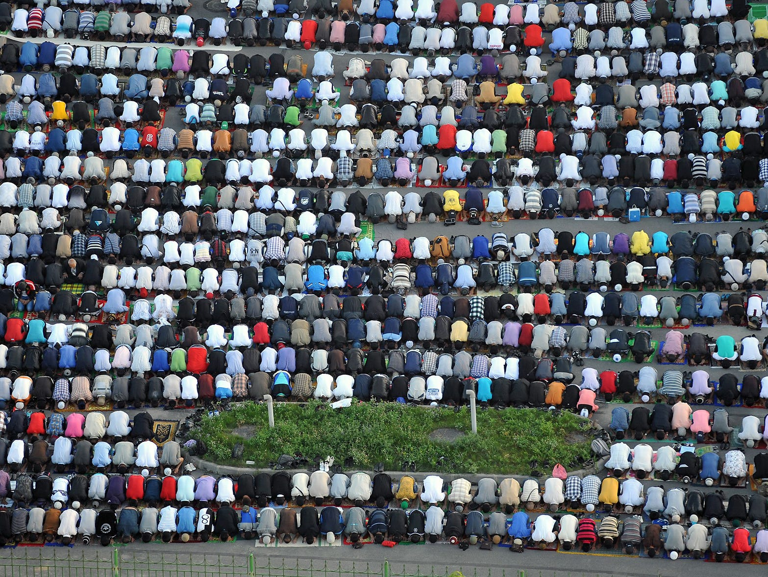 Muslims pray on the first day of Eid al-Fitr in St. Petersburg, Russia.