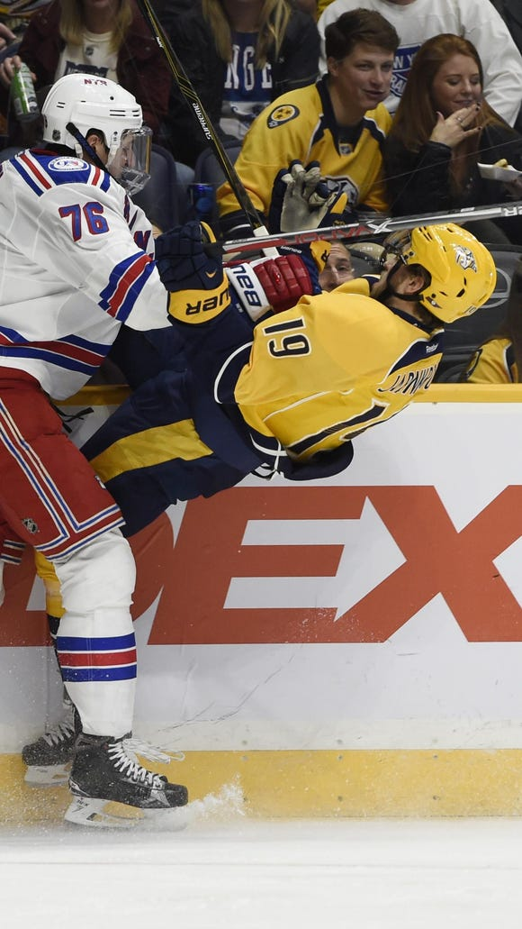 New York Rangers defenseman Brady Skjei puts a big