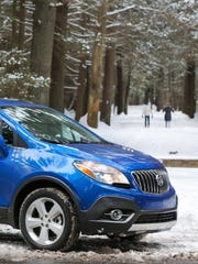The 2015 Buick Buick Encore enjoys the snow at Winvian resort in Morris, Conn.