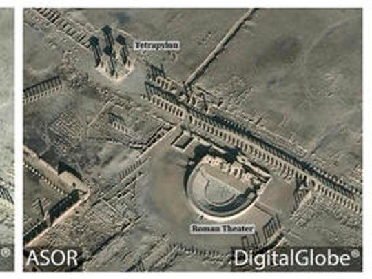 This combination of satellite images released by the American Schools of Oriental Research (ASOR) on Friday, Jan. 20, 2017 as captured by DigitalGlobe shows the Roman theater at the UNESCO World Heritage Site of Palmyra, Syria on Jan. 10, 2017 with new damages indicated in red, left, and the site on Dec. 26, 2016, right. Islamic State group militants destroyed a landmark ancient Roman monument and parts of the theater in Syria's historic town of Palmyra, the government and opposition monitoring groups said Friday.