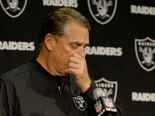 Oakland Raiders head coach Jack Del Rio speaks at a news conference after an NFL football game against the Dallas Cowboys in Oakland, Calif., Sunday, Dec. 17, 2017. The Cowboys won 20-17. (AP Photo/Ben Margot)