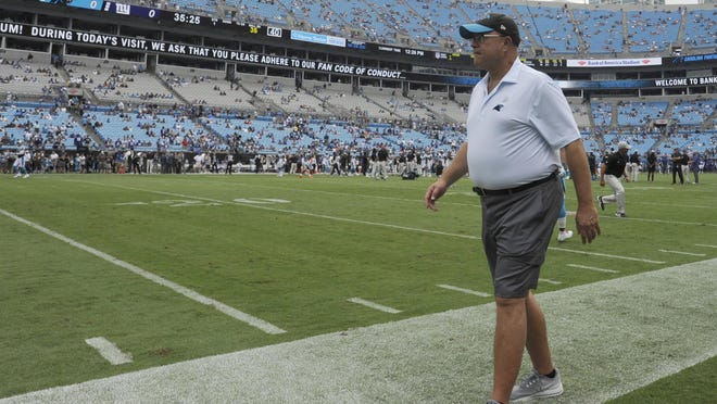 Carolina Panthers owner David Tepper walks the field before an NFL football game against the New York Giants in Charlotte Sunday, Oct. 7, 2018.