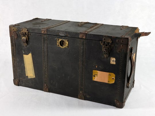"""In her youth, Betty Ford used this trunk to transport her belongings when she traveled. It is among more than 150 items making up the """"In Step with Betty Ford"""" exhibit."""